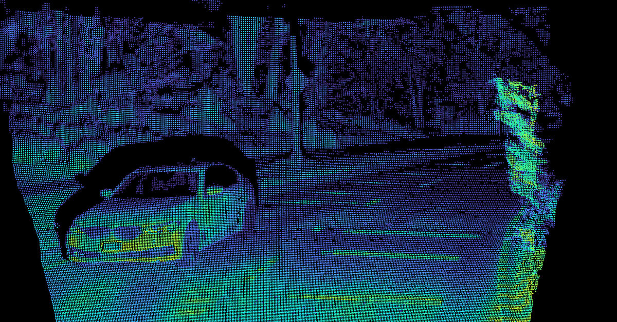Flash lidar point cloud of an oncoming car on a curved road